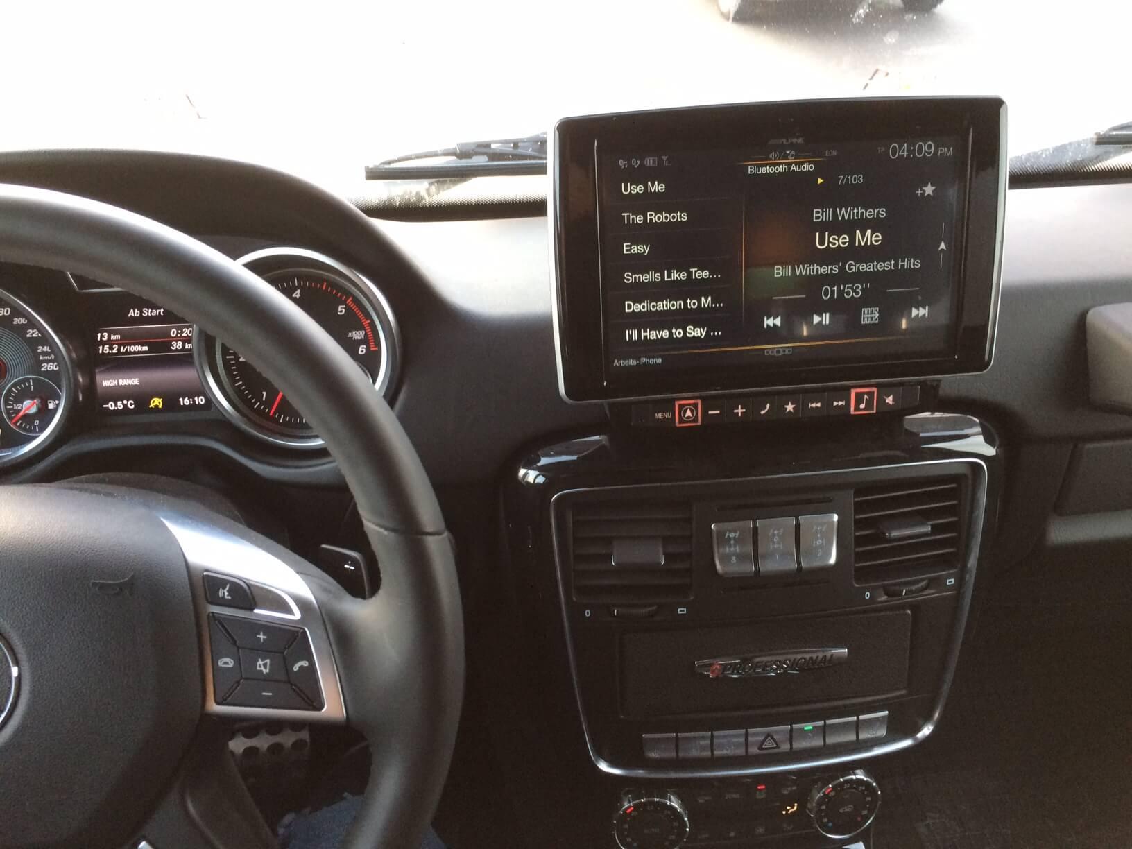 Armaturenbrett Mercedes G Professional (G-Klasse) Modelljahr 2016 und 2017 Alpine Navigationsystem